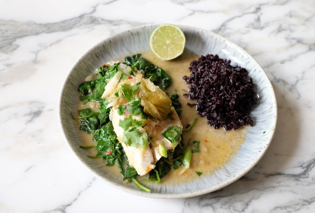 Sea bass with black rice and coconut