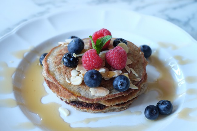 Here are my gluten free pancakes which kids and adults love! Instead of flour I use gluten free oats and high fibre oatbran.
