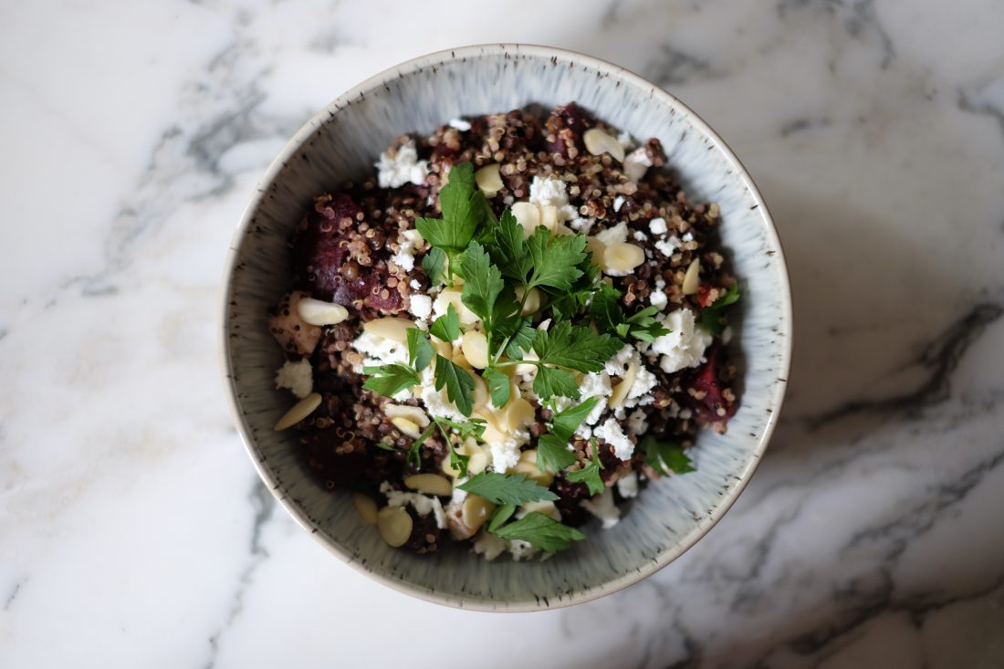 Salad season has arrived!  TMA salads have to be high in taste as well as nutrition. Recipe for beetroot, quinoa, feta and herb salad. P.S. Beetroot has legit superfood status.