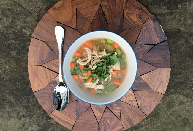 Bone broth chicken soup