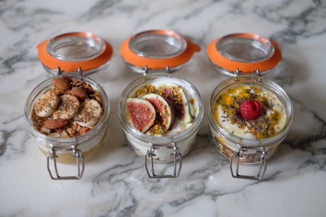 One thing I always have in my cupboard is a big jar of my homemade granola.  Most shop bought granolas are as bad for you as breakfast cereals and not far from biscuits and cookies in nutritional analysis.